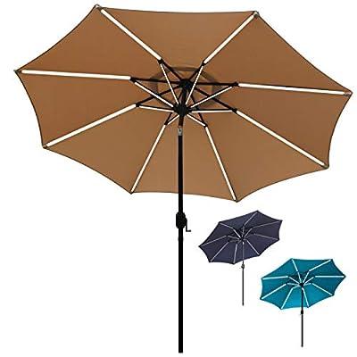 Sfozstra 9 ft Solar Powered LED Lighted Umbrella Patio Umbrella Table Market Umbrella with Push-Button Tilt & Crank, Outdoor Market Umbrella Garden Umbrella, 16 LED Tubes (Tan)