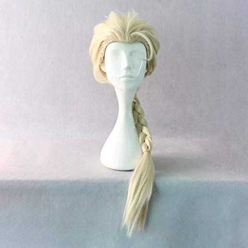 JKL Frozen (Elsa) Anime Cosplay Rose Net Pelucas 100% fibra resistente a altas temperaturas, color dorado largo, trenzado, pelo trenzado, 26 pulgadas