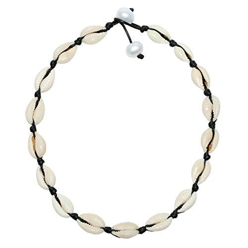 Sea Shell Beads Handmade Hawaii Beach Choker with Adjustable Pearl Closure for Women Girls
