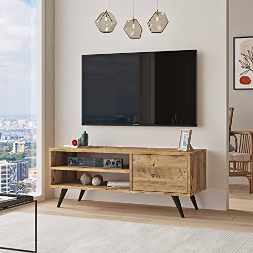 Yurupa TV Lowboard,Fernsehtisch,Unterschrank,Fernsehschrank,TV Schrank,TV Tisch,TV Möbel,TV Board,Büro,Arbeitzimmer,Wohnzimmer Holzoptik,CD1-A