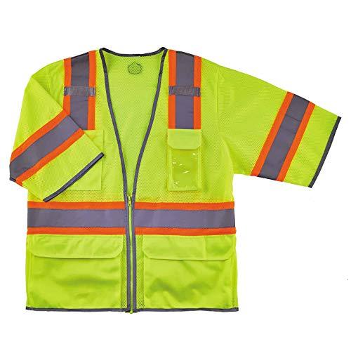 Ergodyne Reflective Safety Vest, ANSI Class 3, Hi Vis Two Tone, 6 Easy Access Pockets, GloWear 8346Z