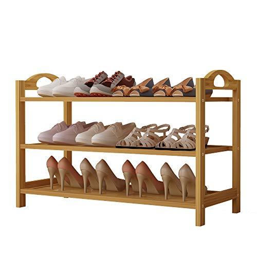 UDEAR Schuhregal, Bambus Schuhbank, Schuhschrank, Bambusregal mit 3 Ablagen, Ideal für Flur, Wohnzimmer, Diele, Küche