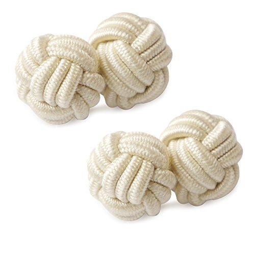 HONEY BEAR 1 Paar Herren/Damen Seide Stoff Knoten Seidenknoten Manschettenknöpfe für Hemd/Kleid zum (Beige)