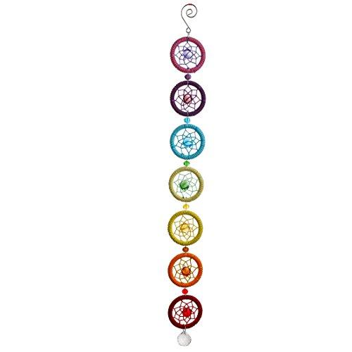 H&D Acchiappasogni artigianale con chakra ottagonali e sfera da 20mm, colore: arcobaleno, con confezione regalo