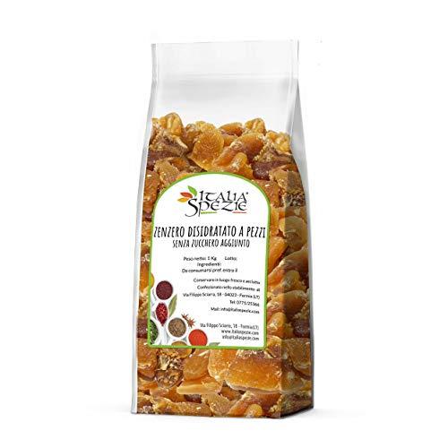 Zenzero disidratato senza zucchero a pezzi 1 kg - Essiccato al naturale - senza solfiti aggiunti - frutta disidratata - secca - candita - caramelle allo zenzero - Italia Spezie