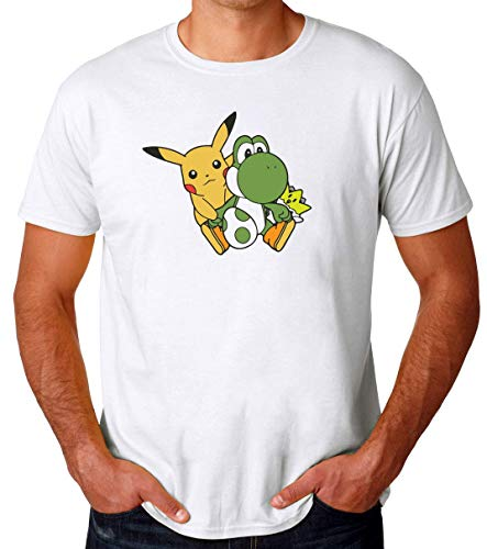 TeeWorld Pikachu Yoshi & Togepi Camiseta para Hombres XX-Large