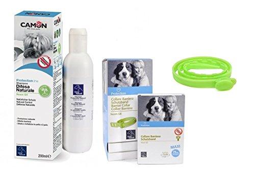 Collier barrière à l'huile de neem 75 cm pour chiens & shampooing huile de neem pour chiens Camon 200 ml