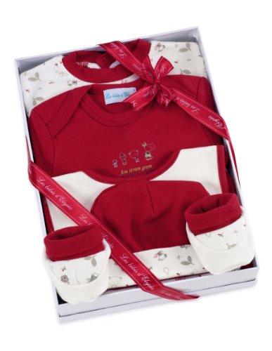 Cadeau bébé - Ensemble fille- Les bébés d'Elyséa - Coffret Am Stram Gram- Rouge 3 Mois