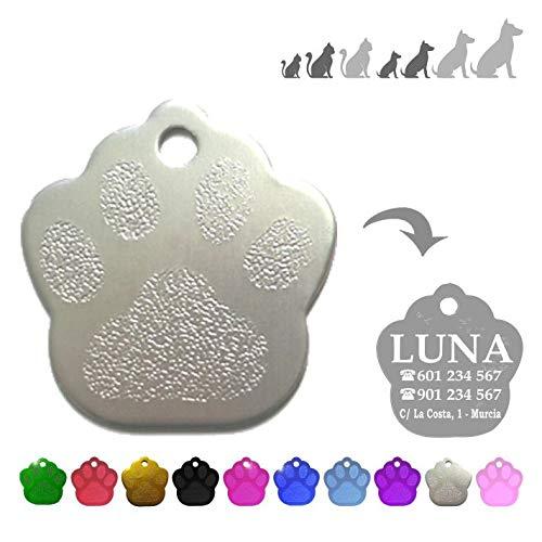 Iberiagifts - Placa en Forma de Huella para Mascotas pequeñas-Medianas Chapa Medalla de identificación Personalizada para Collar Perro Gato Mascota grabada (Plateado)