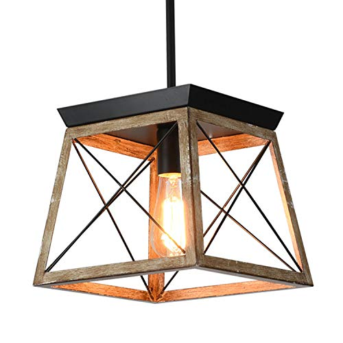 Ganeed Farmhouse Pendant Light Metal Cage with Wooden Finish,1-Light Rustic Lantern Chandelier,Adjustable Height Hanging Light Fixture for Kitchen Island Dining Room Bedroom Foyer