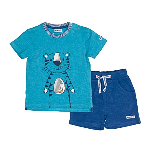 Salt & Pepper Baby-Jungen Set Jungle Uni Tiger Bekleidungsset, Blau (Scuba Ink Blue 457-471), 68