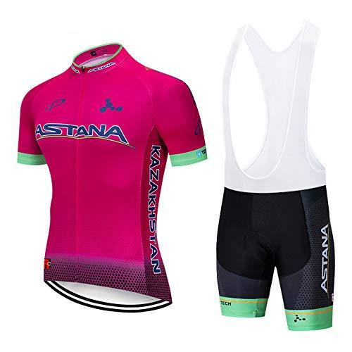 Bike Abbigliamento Ciclismo Uomo, Asciugatura Veloce Maglia Ciclismo Manica Corte e Salopette MTB, Estivo
