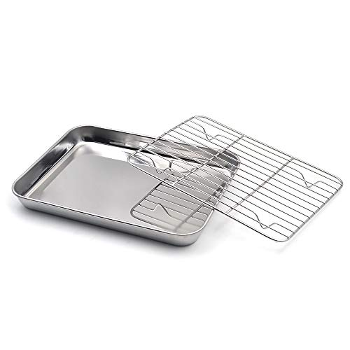 Muka Baking Sheet with Cooling Rack Set, Stainless Steel Cookie Pan and Rack-15.8″L x 12″W x 1″H