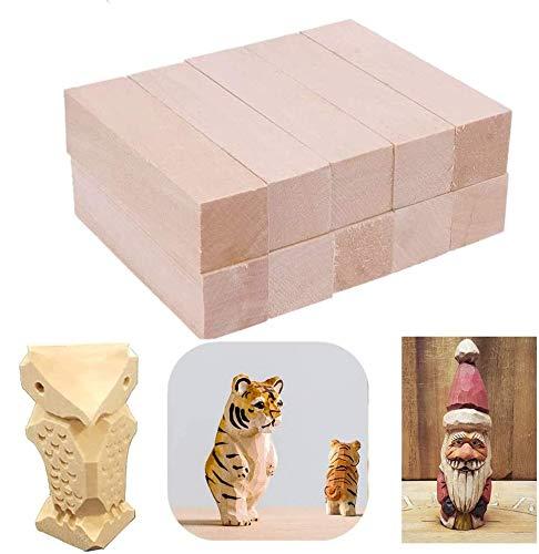 TOKERD 20 Stück Schnitzholz Natürliches Holzblöcke zum Schnitzen & Basteln Lindenholz Schnitzholz für Kinder und Erwachsene(10 x 2,5 x 2,5cm)