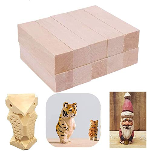 TOKERD 20 bloques de madera natural para tallar y manualidades, madera de tilo, para niños y adultos (10 x 2,5 x 2,5 cm)