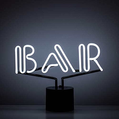 Amped & Co Bar Neon Table Light, Retro Typography Font, Real Neon, White, Large 9x13 inches, Home Decor Neon Signs for Unique Rooms