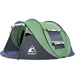 3 Seconds Automatic Opening: Automatically opening the instant pop up tent is like a magic trick. The portable pop up tent only needs to be thrown into the sky, and it can be set up completely in 3 seconds. HEWOLF automatic pop up tent lets your sett...