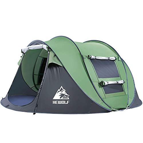 HEWOLF Automatic Pop Up Tent 2 to 3 Person Instant Portable Cabana Beach Tent Easy Setup Camping Tent UV Protection Sun Shelter for Beach Camping Hiking, Large Army Green