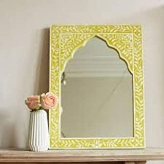 Soothing Yellow Flower and Leaves Design Bone Inlay Mirror Handmade