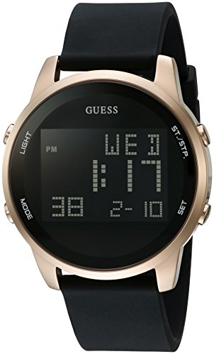 GUESS  Comfortable Gold-Tone + Black Stain Resistant Silicone Digital Watch with Day, Date, 24 Hour Military/Int'l Time, Dual Time Zone + Alarm. Color: Black (Model: U0787G1)