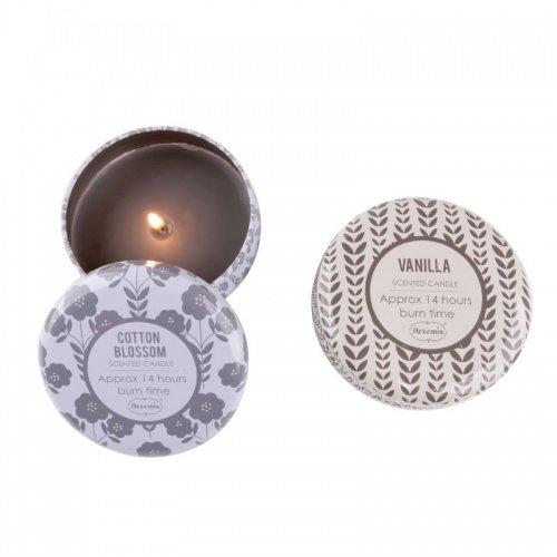 Accentra Duftkerzen Vanille & Flieder/Duftkerzen Set in dekorativer Dose mit Deckel/perfekt auch als Duftkerzen Geschenkset mit Kerze Vanille & Kerze Flieder