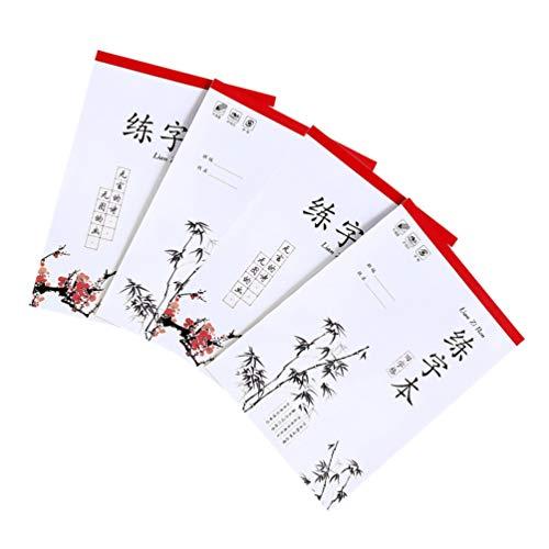 Gadpiparty 4 Piezas de Libro de Papel de Caligrafía China Tian Zi Ge Cuaderno de Caracteres Chinos Libro de Práctica de Escritura a Mano para Niños Y Adultos