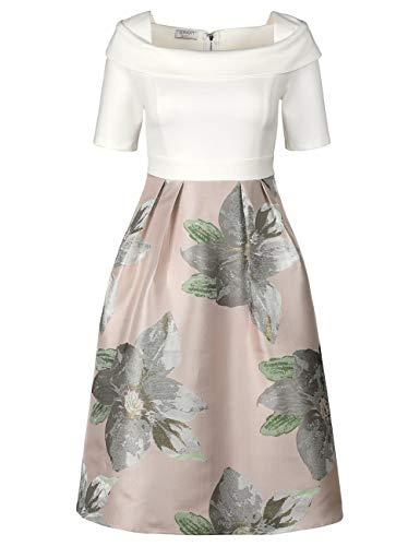 APART, Elegantes Damen Kleid, Cocktailkleid, crème-Multicolor, 2-in-1-Style, aus Jersey und schimmerndem Jacquard, Cream-Multicolor, 36