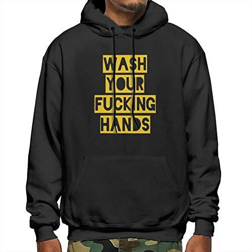 Wash Your Fucking Hands - C-Oronavirus Hooded Sweatshirt Pullover Hoodie Men's Polyester Fleece Hoodie Black