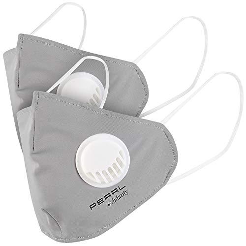 PEARL Maske: 2er-Set Mund-Nasen-Stoffmasken mit Ventil, waschbar, Größe M (Maske mit Ventil)