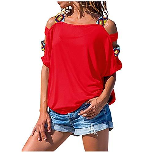 Bluse Damen T-Shirt Damen Sommer Elegant Frauen Volksbräuche Böhmen Top Short Druck Damenblusen Kurzarm Rundhals Ausschnitt Lose Hemd Pullover Sweatshirt Oberteil Tee Tops (Rot, L)