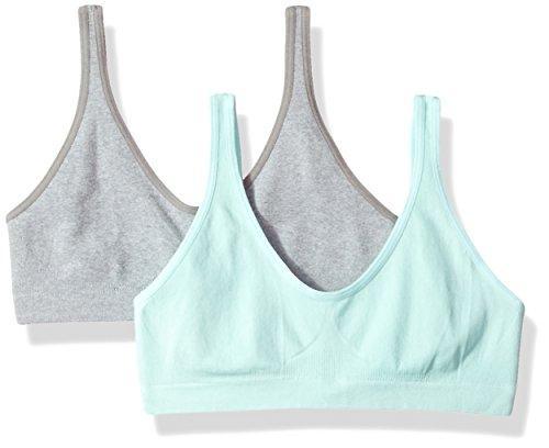 Hanes Big Girls Seamless Comfortflex Fit Cozy Pullover 2-pack Training Bra, Heather Grey/Blue Spearmint, Large US