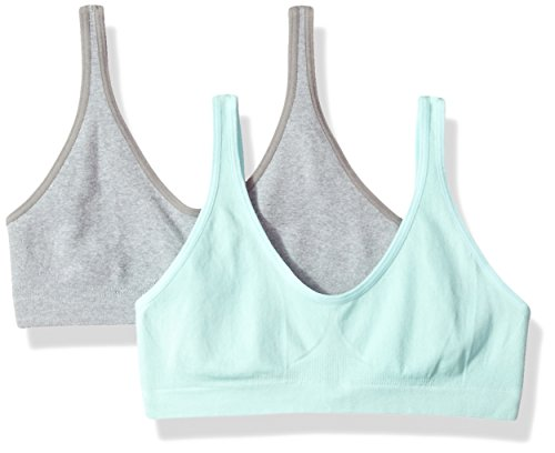 Hanes Big Girl's Seamless ComfortFlex Fit Cozy Pullover Bra 2-Pack Bra, Heather Grey/Blue Spearmint, Large