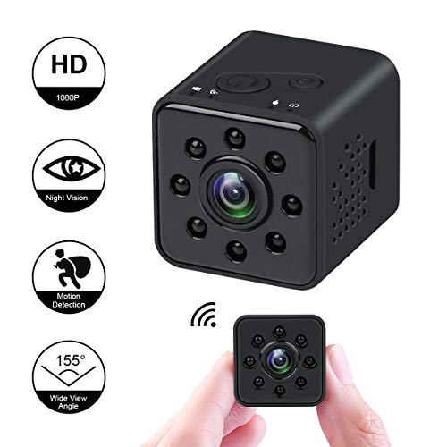 Mini cámara 1080P HD Videocámara espía Visión Nocturna Cámara CMOS 155 Grados Soporte de cámara Oculta a Prueba de Agua WiFi móvil Detección de Movimiento para FPV Drone
