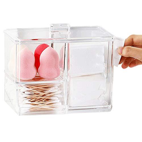 Boite à Coton Tiges Holder Box, Cotton-Pad Distributeur, Boite Rangement Coton Maquillage Boite pour Coton Pad Organiseur Swab Support Cosmétique Boîte de Rangement avec Couvercle