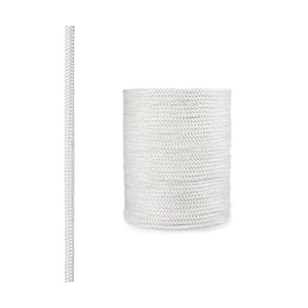STEIGNER Cordón de Fibra de Vidrio SKD02-6, 1 m, 6 mm, Blanco Sellador Resistente a Temperaturas hasta 550°C