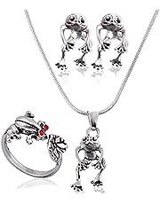 4 stycken retro groda örhängen halsband ringar bärbar groda smycken örhängen vintage groda djur ring justerbar metall öppen ring groda hänge halsband för kvinnor flickor