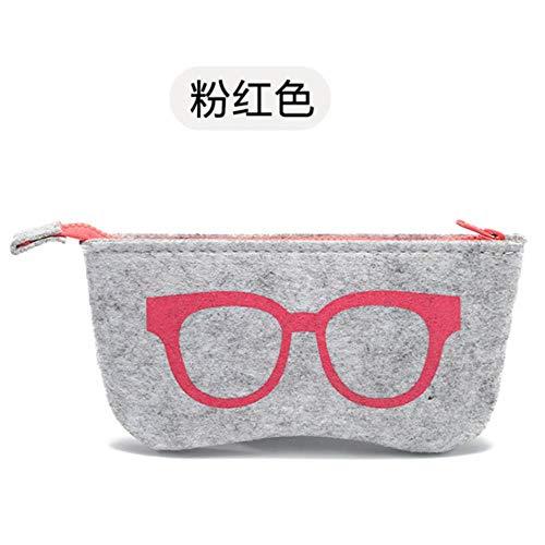 EMOHKCAB Vilten Doek Zonnebrillen HoesjesDames Brillen Tas Brillen Doos Heren Rits Brillenkoker Bijziendheid Brillenzakje, Roze