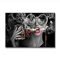 赤い唇のファッションの女性のキャンバスのポスター黒と白のタバコの壁のアートプリント絵画壁の写真リビングルームフレームなし