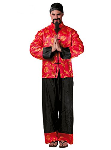 Guirca - Costume chinois mandarin, couleur rouge, taille unique, 80666.