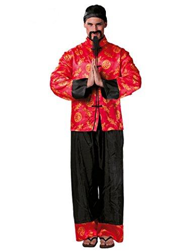 Guirca - Disfraz chino Mandarin, color rojo, talla única, 80666
