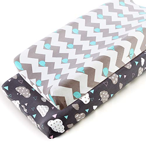 COSMOPLUS Stretch Fitted Changing Pad Cover 2 Pack Stretchy Changing Table Pad Covers for Boys Girls Whale/Cloud