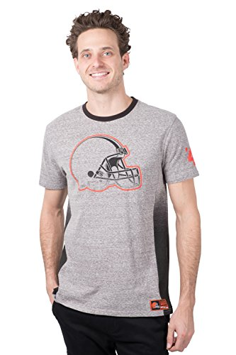 Ultra Game NFL Cleveland Browns Mens Vintage Ringer Short Sleeve Tee Shirt, Gray, Small