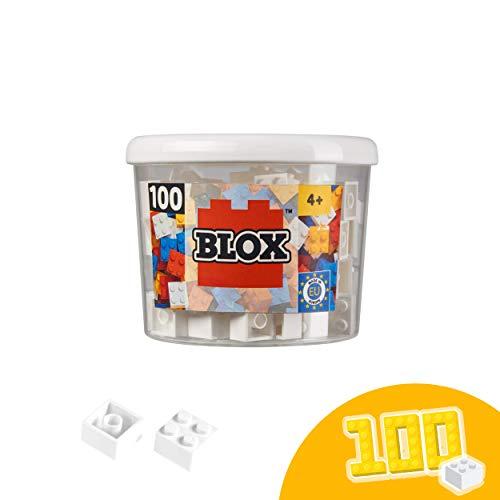 Simba 104114113 Blox, weiße Bausteine Made in Italy, 4er Steine, inkl. Aufbewahrungsdose, höchste Qualität und 100 Prozent kompatibel mit bekannten Spielsteinen