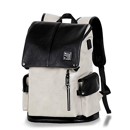 Neaer Mochila de moda casual para hombre para portátil de 14 pulgadas, con carga USB, gran espacio de viaje, mochila antirrobo (color: gris)
