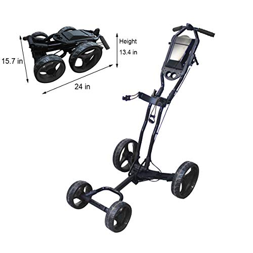 Hoveroid Foldable Golf Push Cart Aluminum Structure, Light Weight Suitable Golf Pull Cart for Teenagers&Adults Golf Club, Golf Course, Sports Competition (4 Wheel- Black)