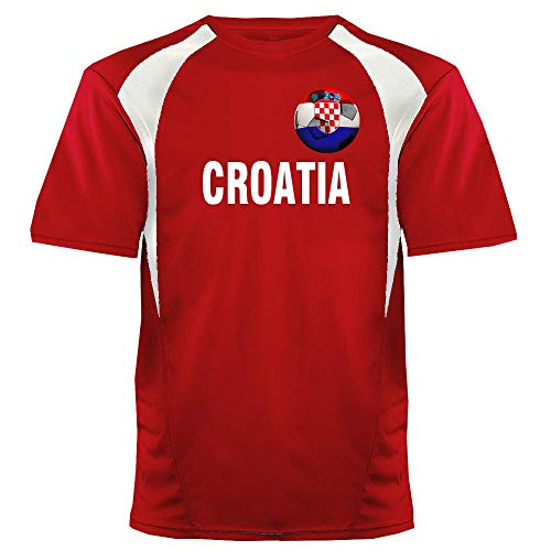 Custom Croatia Soccer Ball 1 Jersey Youth Medium in Scarlet Red and White