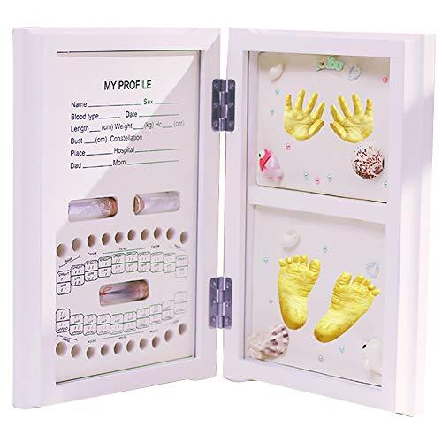 KOOU 0~2 Ans Empreintes de Mains bébé Empreintes Cadeau, bébé Cheveux foetaux Dents de bébé Empreintes de Mains Empreintes Photos Album Souvenir Souvenir, Cadeau pour garçons Filles