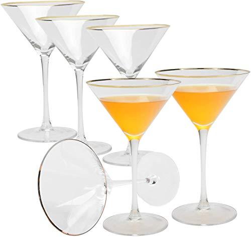 Copas de cóctel con Borde Dorado, Vasos de Martini Cristal copas de postre cristalería de tallo largo, perfectas para restaurantes y fiestas, margarita, mojito, 240ml, sin BPA, juego de 6