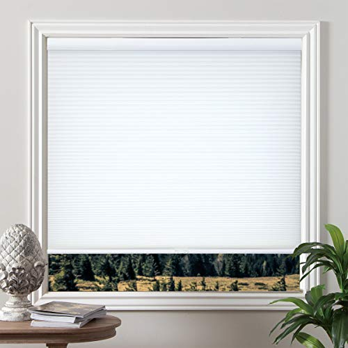 Grandekor Cordless Light Filtering Honeycomb Cellular Blinds and Shades for Window, White, 46 inch x 48 inch