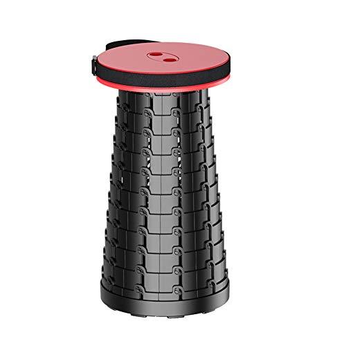 CCK Taburete portátil de altura ajustable y retráctil con capacidad para hasta 150 kg de capacidad al aire libre y plegable para camping, pesca barbacoa (color: rojo)